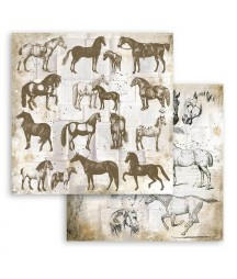 Bloczek papierów do scrapbookingu 30x30 cm, Romantic Horses / Stamperia SBBL90