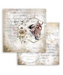 Papier do scrapbookingu Stamperia 30x30, Romantic horses - dziewczyna i koń SBB800