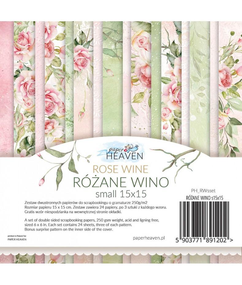 Zestaw papierów do scrapbookingu, mały bloczek Różane wino - Paper Heaven