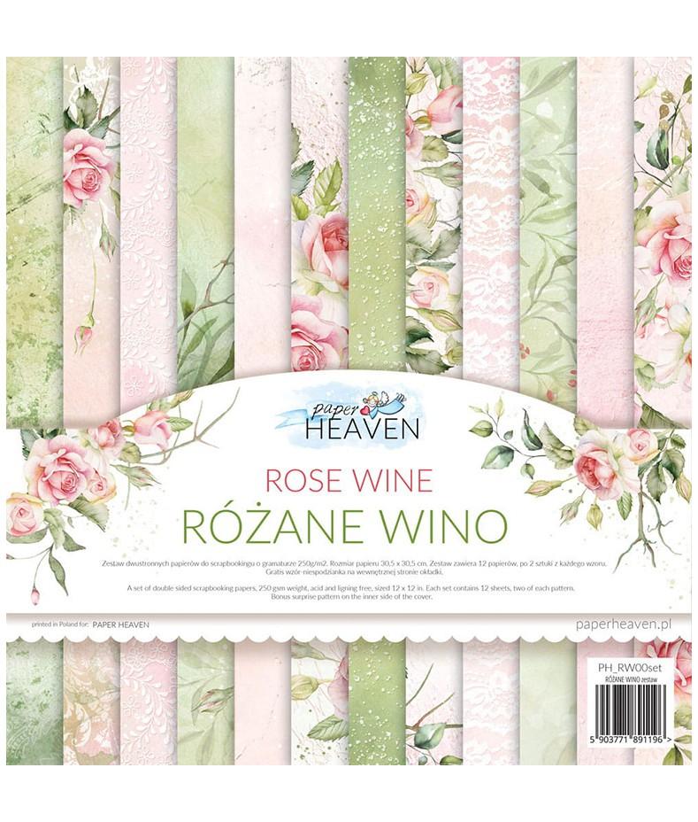 Zestaw papierów do scrapbookingu 30x30 cm, Różane wino