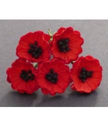 Kwiatki papierowe maki czerwone, Red Mulberry Poppy Flowers SAA-367 20 mm, 5 szt.