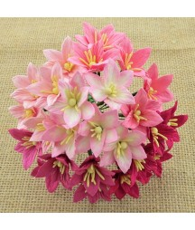Kwiatki papierowe lilie, Mixed Pink Mulberry Lily Flowers SAA-140 30 mm, 5 szt.