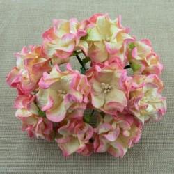 Kwiatki papierowe gardenie, 2-tone Champagne Pink Gardenia Flowers SAA-346 6 cm, 5 szt.