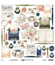 Papier do scrapbookingu 12x12, Written Memories 09 - dodatki Mintay Papers