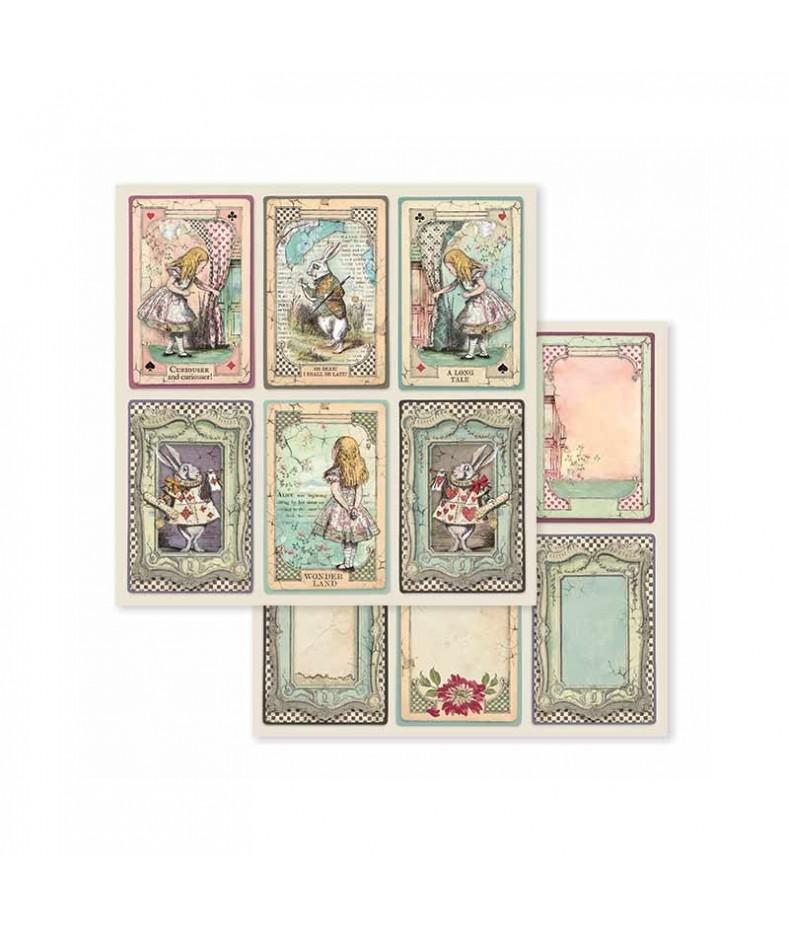 Papier do scrapbookingu Stamperia 30x30, Alice - Alicja w Krainie Czarów, tagi SBB584