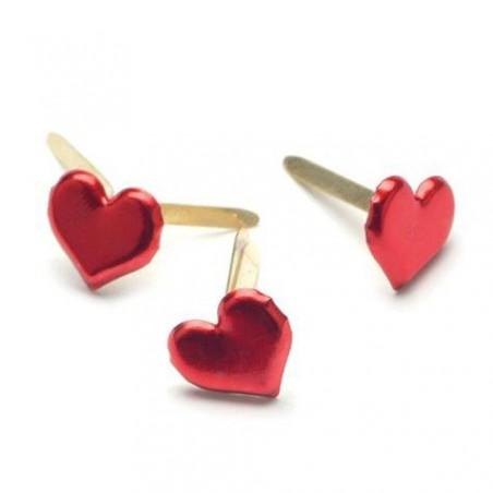 Ćwieki metalowe, Painted Metal Paper Fasteners, Hearts/Metallic Red, 50 szt. [CI90315]