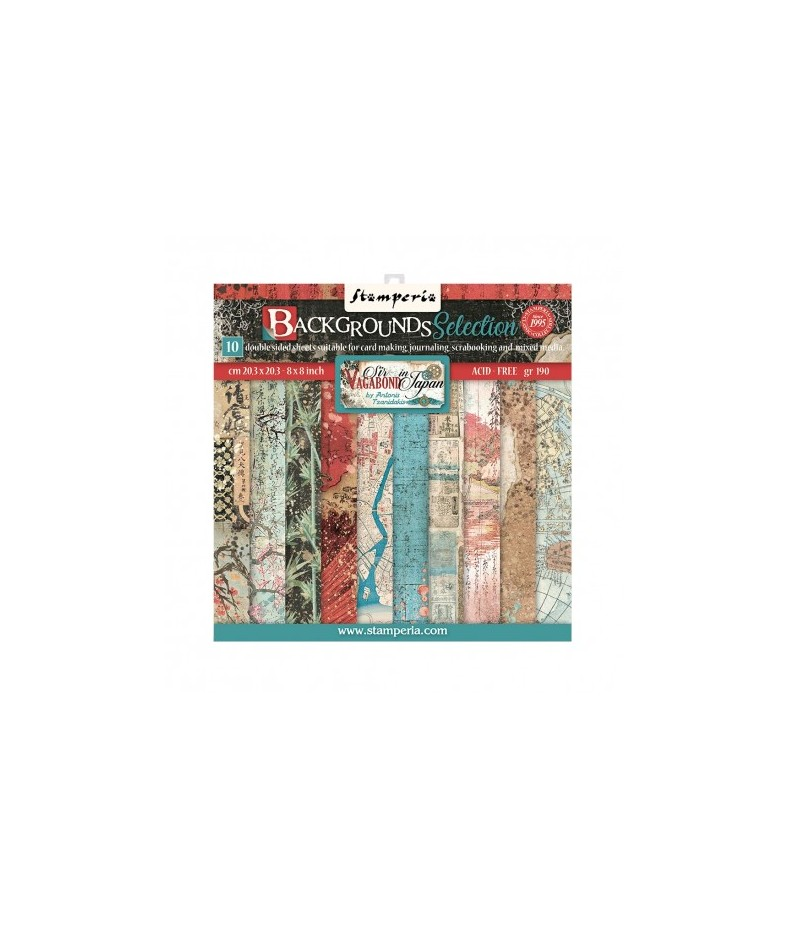 Bloczek papierów do scrapbookingu 20x20 cm, Sir Vagabond in Japan - tła / Stamperia SBBS43