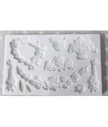 Forma silikonowa do mas strukturalnych Pentart 93201, Róże na 8 sposobów