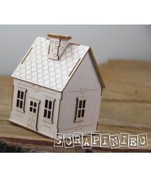Tekturowy domek 3D do projektów scrapbookingowych, do boxów 10 cm