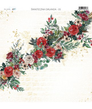 Papier do scrapbookingu 30x30 cm, Świąteczna Girlanda 01Paper Heaven