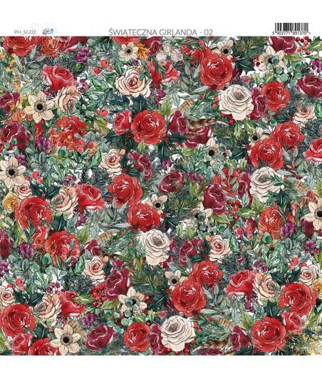 Papier do scrapbookingu 30x30 cm, Świąteczna Girlanda 02 Paper Heaven