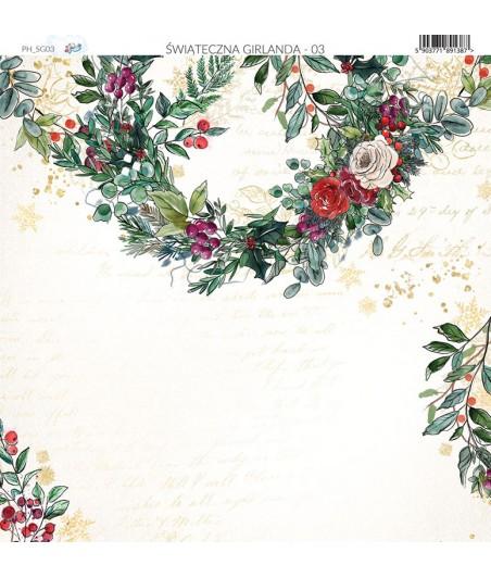 Papier do scrapbookingu 30x30 cm, Świąteczna Girlanda 03 Paper Heaven
