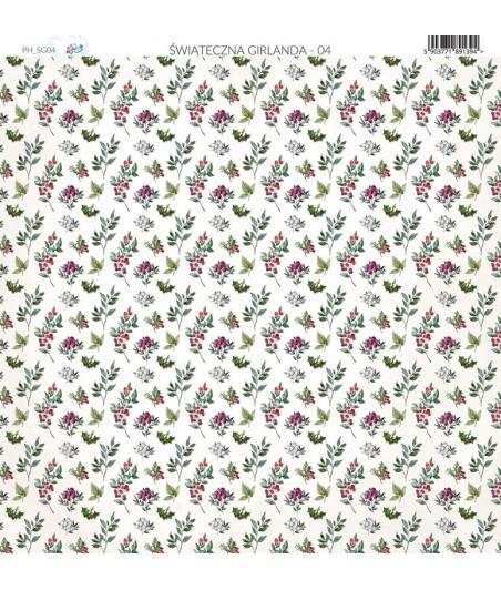 Papier do scrapbookingu 30x30 cm, Świąteczna Girlanda 04 Paper Heaven