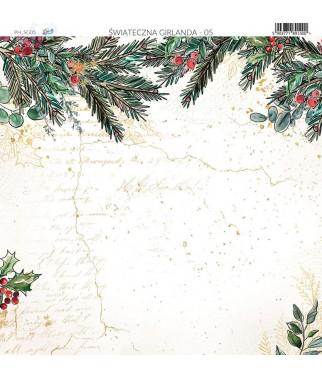 Papier do scrapbookingu 30x30 cm, Świąteczna Girlanda 05 Paper Heaven