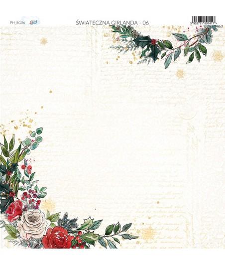 Papier do scrapbookingu 30x30 cm, Świąteczna Girlanda 06 Paper Heaven