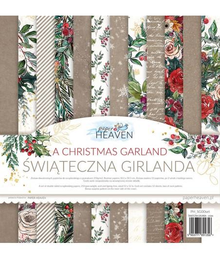 Zestaw papierów do scrapbookingu 30x30 cm, Świąteczna Girlanda