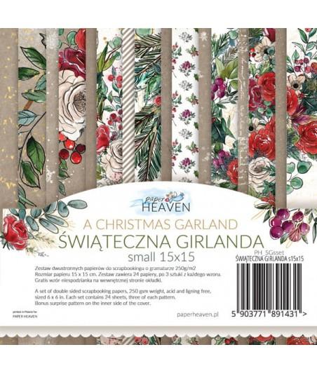 Zestaw papierów do scrapbookingu, mały bloczek Świąteczna Girlanda - Paper Heaven