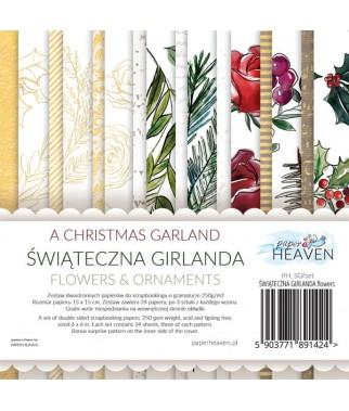 Zestaw papierów do scrapbookingu Świąteczna Girlanda flowers - dodatki - Paper Heaven