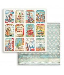 Papier do scrapbookingu Stamperia 30x30, Christmas Patchwork, tagi świąteczne SBB803
