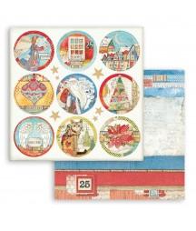 Papier do scrapbookingu Stamperia 30x30, Christmas Patchwork, tagi okrągłe świąteczne SBB804