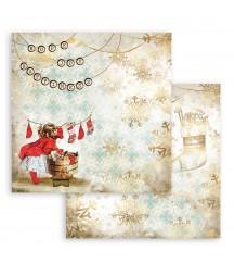 Papier do scrapbookingu Stamperia 30x30, Romantic Christmas, dziewczynka i skarpety SBB830