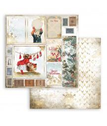 Papier do scrapbookingu Stamperia 30x30, Romantic Christmas, świąteczne tagi SBB828