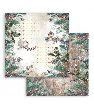 Papier do scrapbookingu Stamperia 30x30, Romantic Christmas, ptaszki i zimowe owoce SBB827