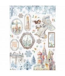 Papier ryżowy A4 do decoupage Stamperia DFSA4584, Winter Tales - zimowa baśń