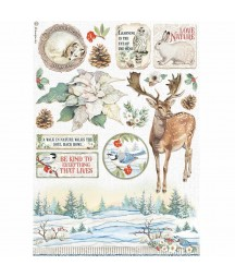 Papier ryżowy A4 do decoupage Stamperia DFSA4585, Winter Tales - poinsecja