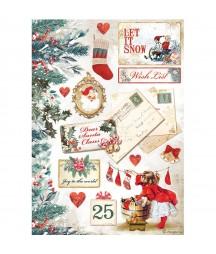Papier ryżowy A4 do decoupage Stamperia DFSA4614, Romantic Christmas - listy