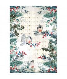 Papier ryżowy A4 do decoupage Stamperia DFSA4634, Romantic Christmas - zimowe ptaszki