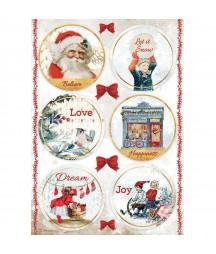 Papier ryżowy A4 do decoupage Stamperia DFSA4635, Romantic Christmas - okrągłe obrazki na bombki