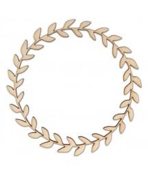 Okrągła roślinna ramka ze sklejki - wieniec AD998