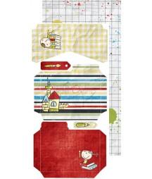Zestaw dodatków do junk journala 15x30 cm Szkolne przygody / Craft O'Clock
