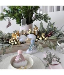 Drewniane dekory świąteczne z futerkiem 12 szt. DPDN-149