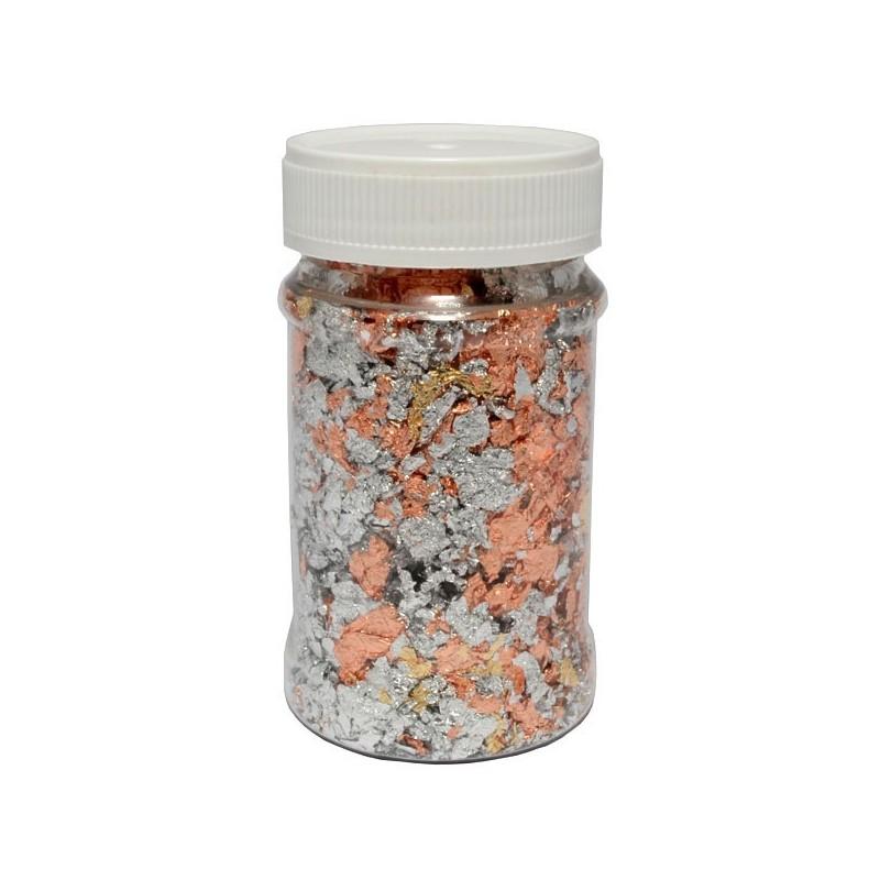 Folia do złoceń w płatkach 100 ml - melanż złotej, srebrnej i miedzianej