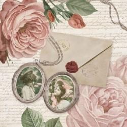 Serwetka do decoupage z różami i zalakowanym listem
