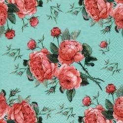 Serwetka do decoupage z różami na turkusowym tle