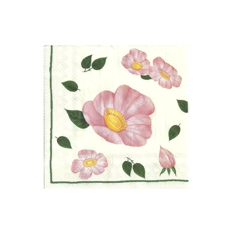 Serwetka do decoupage - Kielichy kwiatowe dzikiej róży z listkami