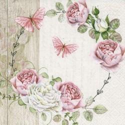 Serwetka do decoupage - Wianek z róż i motyli