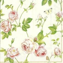 Serwetka do decoupage mini - Róże i motyle - kremowe tło
