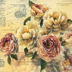 Serwetka do decoupage z różami żółtymi i czerwonymi