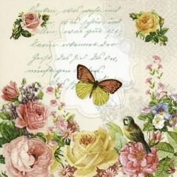 Serwetka do decoupage z różami i motylem