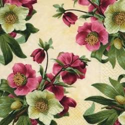 Serwetka do decoupage - Dzika róża - kwiaty białe i czerwone