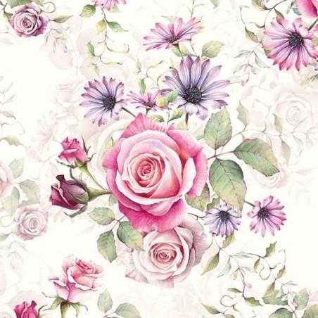 Serwetka do decoupage  - Bukiet róż,mini