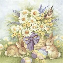 Serwetka do decoupage - bukiet polnych kwiatów, zajćzki i pisanki, Wielkanoc