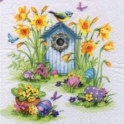 Serwetka do decoupage - Pisanki wśród wiosennych kwiatów