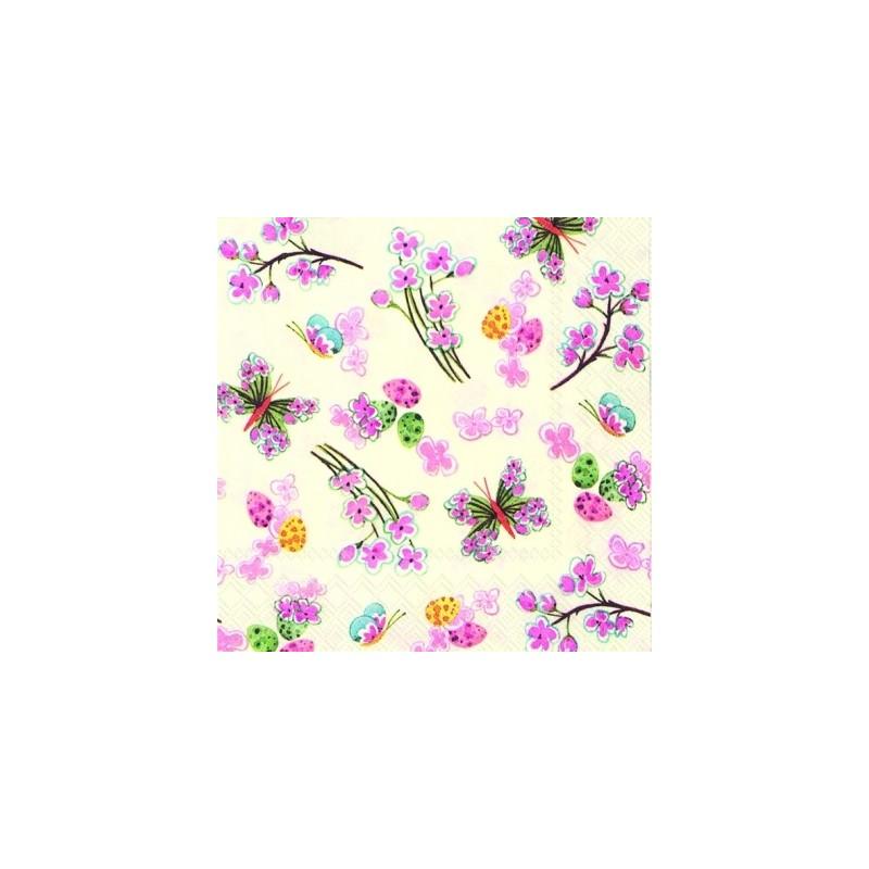 Serwetka do decoupage - Święto wiosny kolorowe motyle i kwiaty