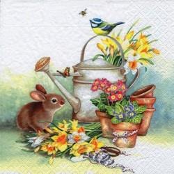 Serwetka do decoupage - Wiosenne kwiaty, konewka i królik