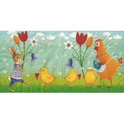 Serwetka do decoupage - wielkanocne kurczaki, zając kura